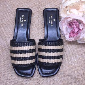 Kate Spade Sandal Slides-Black/Natural-8.5M